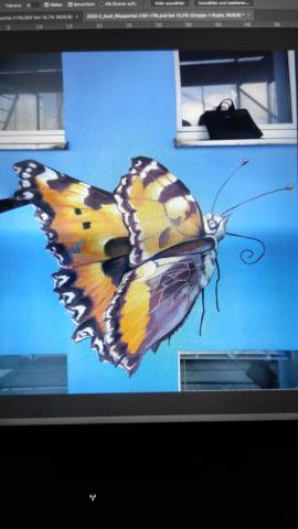 Sonnenblumen, Schmetterling, Hochhaus, Wuppertal, Atelier Allgaier