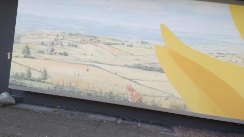 Sonnenblumen, Sockel, Landschaftsmalerei, Hochhaus, Wuppertal, Atelier Allgaier